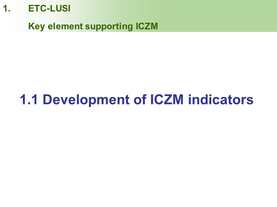 INDEX 1.1 Development of ICZM indicators 1.ETC-LUSI Key element supporting ICZM
