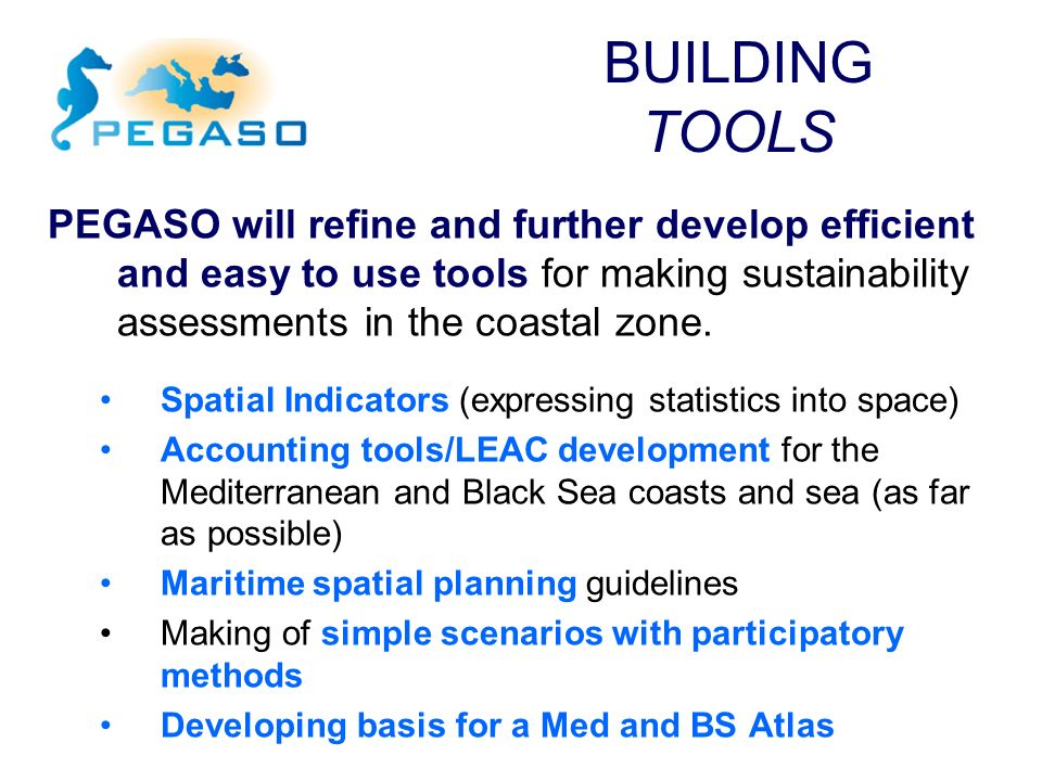 PEGASO will refine and further develop efficient and easy to use tools for making sustainability assessments in the coastal zone. Spatial Indicators (