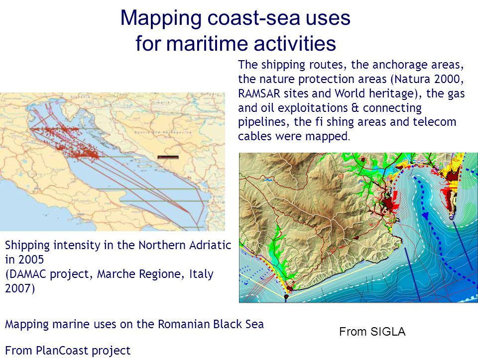 Mapping coast-sea uses for maritime activities Shipping intensity in the Northern Adriatic in 2005 (DAMAC project, Marche Regione, Italy 2007) The shi