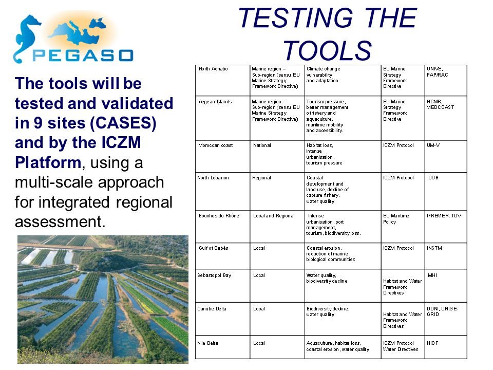 The tools will be tested and validated in 9 sites (CASES) and by the ICZM Platform, using a multi-scale approach for integrated regional assessment. T