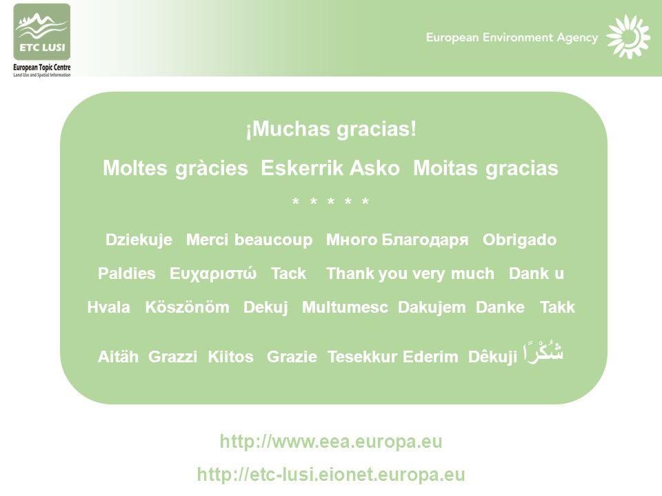 http://www.eea.europa.eu http://etc-lusi.eionet.europa.eu ¡Muchas gracias! Moltes gràcies Eskerrik Asko Moitas gracias * * * * * Dziekuje Merci beauco