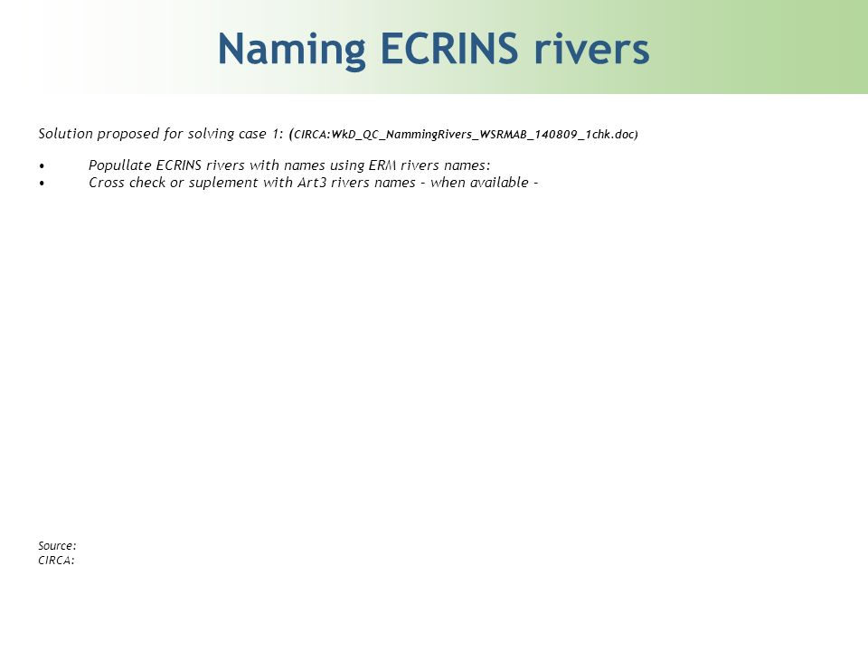 Naming ECRINS rivers Solution proposed for solving case 1: ( CIRCA:WkD_QC_NammingRivers_WSRMAB_140809_1chk.doc) Popullate ECRINS rivers with names using ERM rivers names: Cross check or suplement with Art3 rivers names – when available – Source: CIRCA: