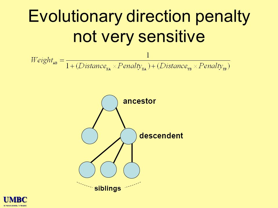UMBC an Honors University in Maryland Evolutionary direction penalty not very sensitive ancestor descendent siblings
