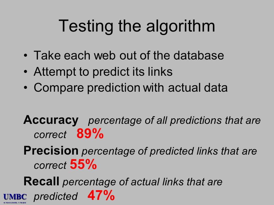 UMBC an Honors University in Maryland Testing the algorithm Take each web out of the database Attempt to predict its links Compare prediction with actual data Accuracy percentage of all predictions that are correct 89% Precision percentage of predicted links that are correct 55% Recall percentage of actual links that are predicted 47%
