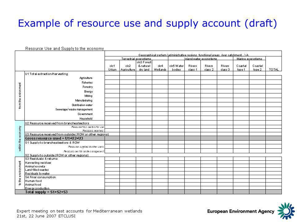 Expert meeting on test accounts for Mediterranean wetlands 21st, 22 June 2007 ETCLUSI Example of resource use and supply account (draft)