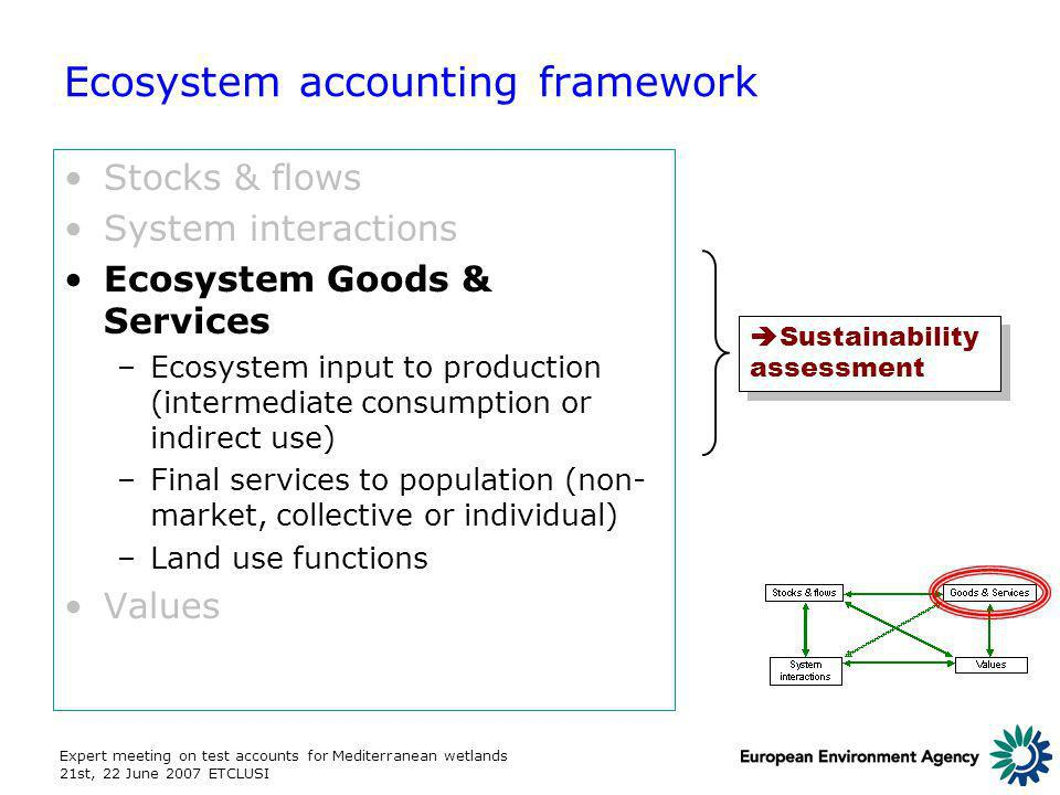 Expert meeting on test accounts for Mediterranean wetlands 21st, 22 June 2007 ETCLUSI Ecosystem accounting framework Stocks & flows System interactions Ecosystem Goods & Services –Ecosystem input to production (intermediate consumption or indirect use) –Final services to population (non- market, collective or individual) –Land use functions Values Sustainability assessment