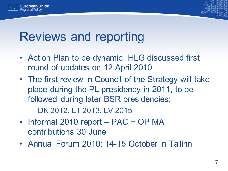 7 Reviews and reporting Action Plan to be dynamic.
