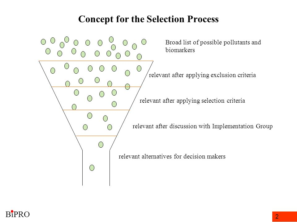 2 Concept for the Selection Process relevant after applying exclusion criteria relevant after applying selection criteria relevant alternatives for decision makers Broad list of possible pollutants and biomarkers relevant after discussion with Implementation Group BiPRO