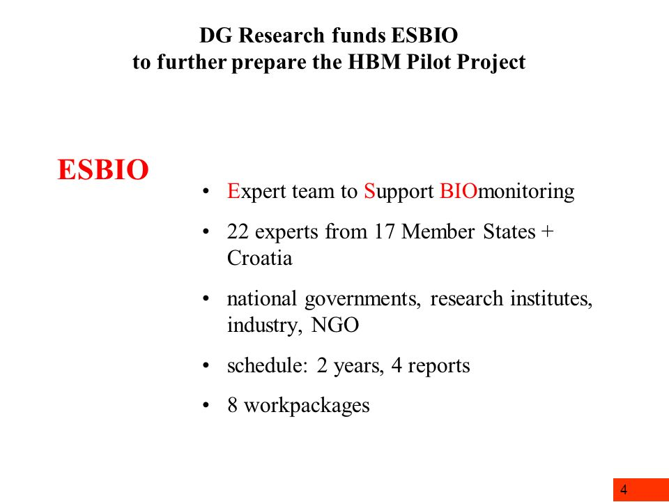 4 DG Research funds ESBIO to further prepare the HBM Pilot Project Expert team to Support BIOmonitoring 22 experts from 17 Member States + Croatia nat