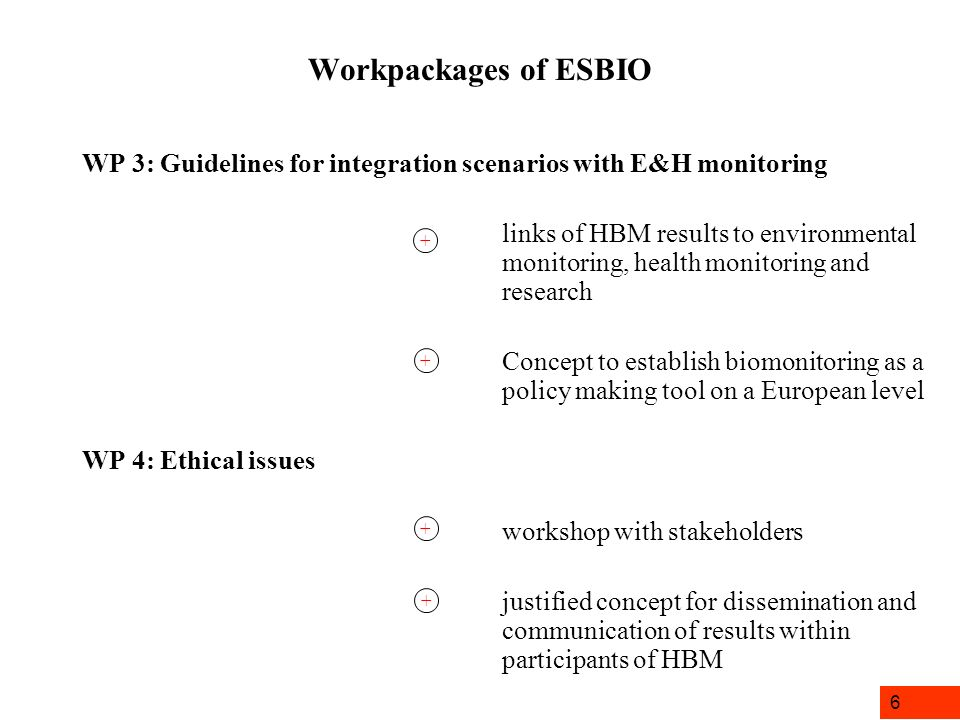 6 Workpackages of ESBIO WP 3: Guidelines for integration scenarios with E&H monitoring links of HBM results to environmental monitoring, health monitoring and research Concept to establish biomonitoring as a policy making tool on a European level WP 4: Ethical issues workshop with stakeholders justified concept for dissemination and communication of results within participants of HBM