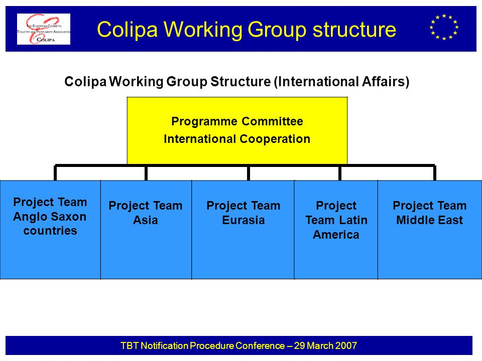 TBT Notification Procedure Conference – 29 March 2007 Colipa Working Group Structure (International Affairs) Colipa Working Group structure Programme Committee International Cooperation Project Team Anglo Saxon countries Project Team Asia Project Team Eurasia Project Team Latin America Project Team Middle East