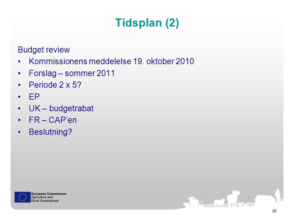20 Tidsplan (2) Budget review Kommissionens meddelelse 19.