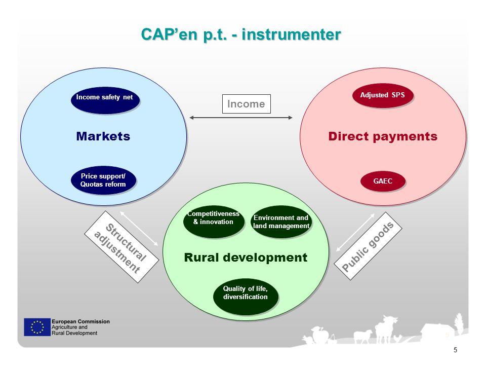 6 6 Rural Development Direct payments Markets Pillar I Pillar II Instrumenternes budgetvægt Instrumenternes budgetvægt Modulation
