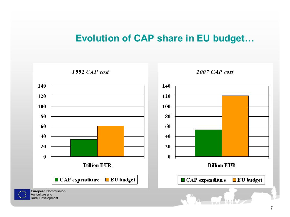 8 … and alternative views on its cost CAP cost in 2009 (in relative terms) CAP cost in 2009 (in absolute terms) 0.5% of EU GDP 41% of EU budget Source: European Commission - DG Agriculture and Rural Development