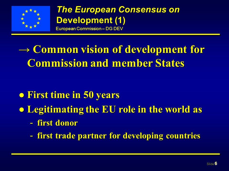 Slide 17 European Commission – DG DEV Part II The European Community Development Policy