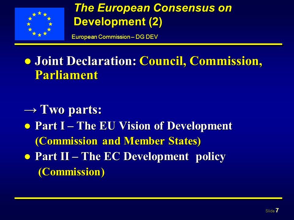 Slide 8 European Commission – DG DEV Part I The EU Vision of Development