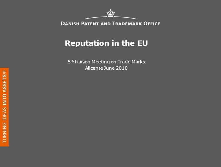 Reputation in the EU 5 th Liaison Meeting on Trade Marks Alicante June 2010