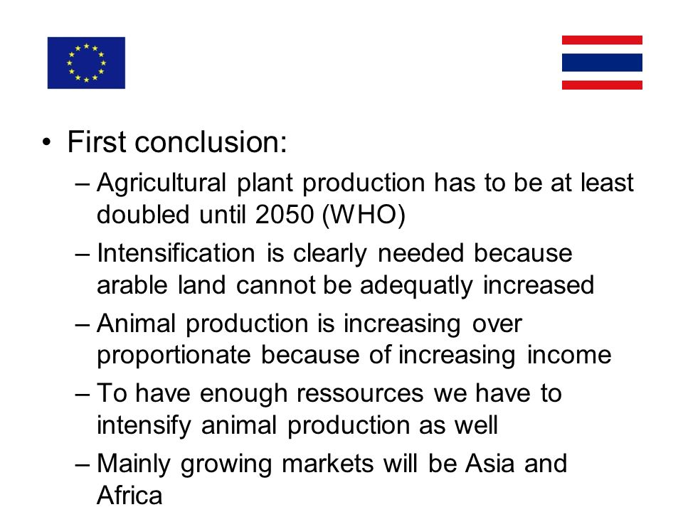 First conclusion: –Agricultural plant production has to be at least doubled until 2050 (WHO) –Intensification is clearly needed because arable land cannot be adequatly increased –Animal production is increasing over proportionate because of increasing income –To have enough ressources we have to intensify animal production as well –Mainly growing markets will be Asia and Africa