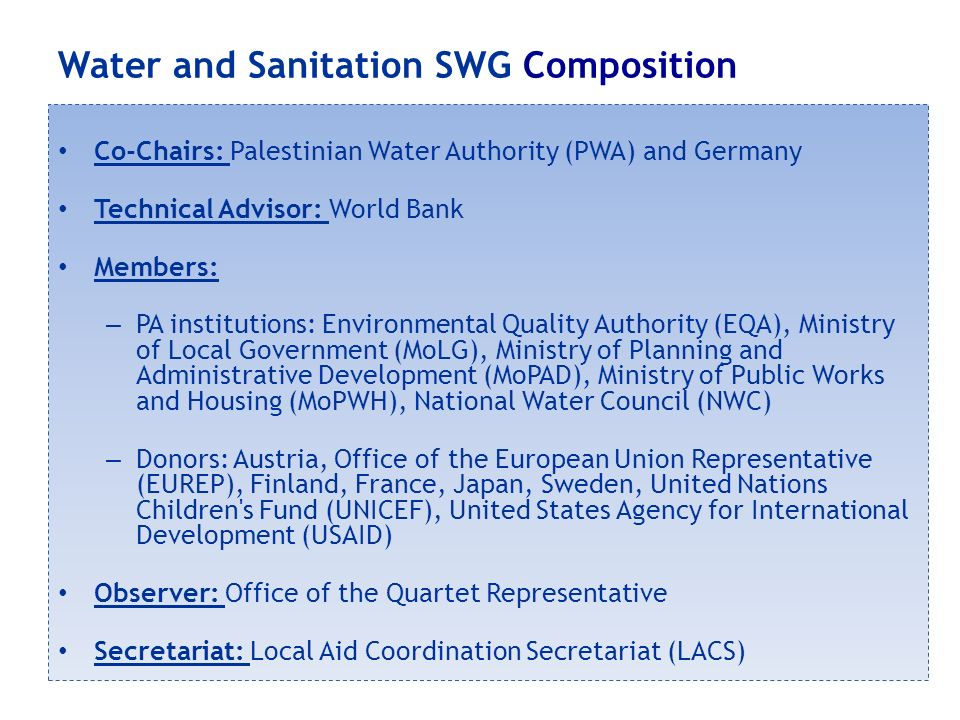Water and Sanitation SWG Composition Co-Chairs: Palestinian Water Authority (PWA) and Germany Technical Advisor: World Bank Members: – PA institutions