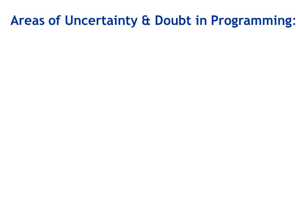 Areas of Uncertainty & Doubt in Programming: