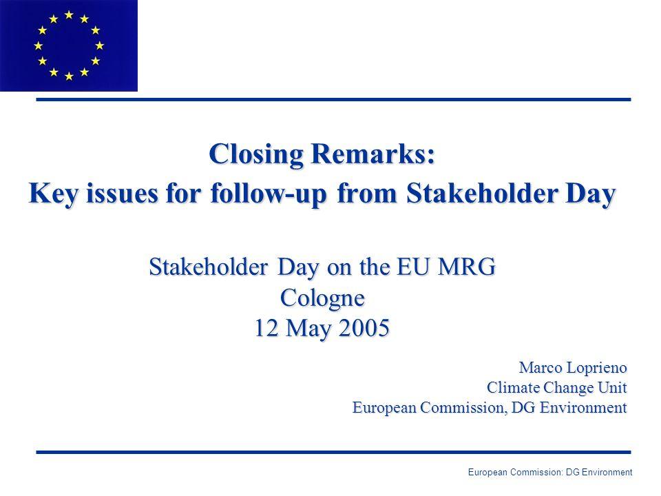 European Commission: DG Environment Monitoring….