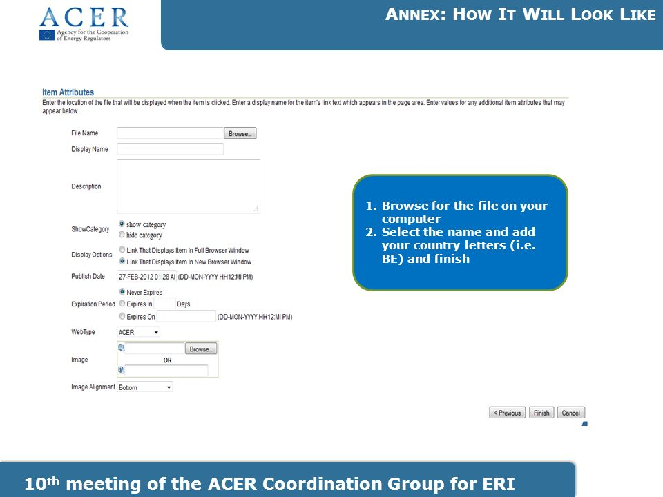 10 th meeting of the ACER Coordination Group for ERI A NNEX : H OW I T W ILL L OOK L IKE 1.Browse for the file on your computer 2.Select the name and add your country letters (i.e.