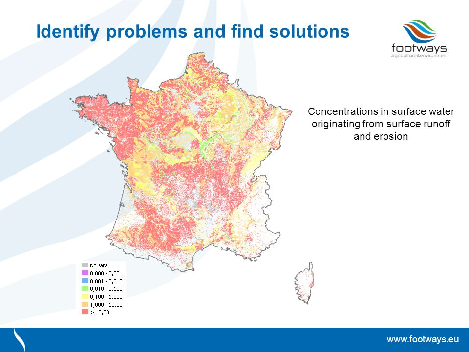 www.footways.eu Identify problems and find solutions Concentrations in surface water originating from surface runoff and erosion