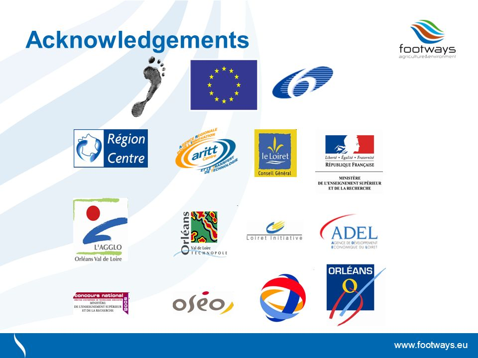 www.footways.eu Acknowledgements