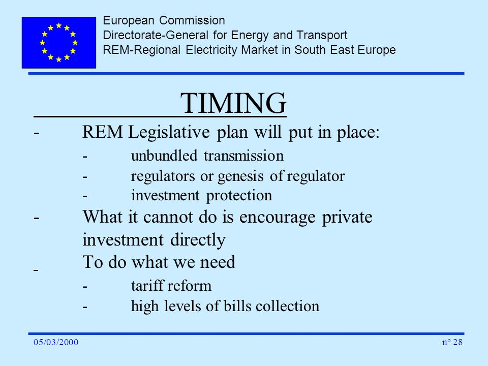 European Commission Directorate-General for Energy and Transport REM-Regional Electricity Market in South East Europe n° 2805/03/2000 TIMING -REM Legi