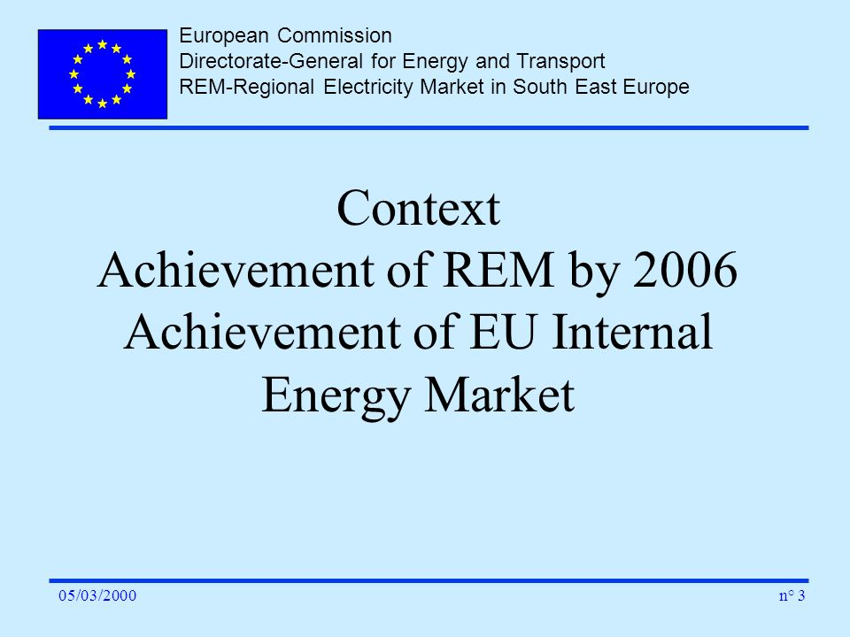 European Commission Directorate-General for Energy and Transport REM-Regional Electricity Market in South East Europe n° 305/03/2000 Context Achieveme