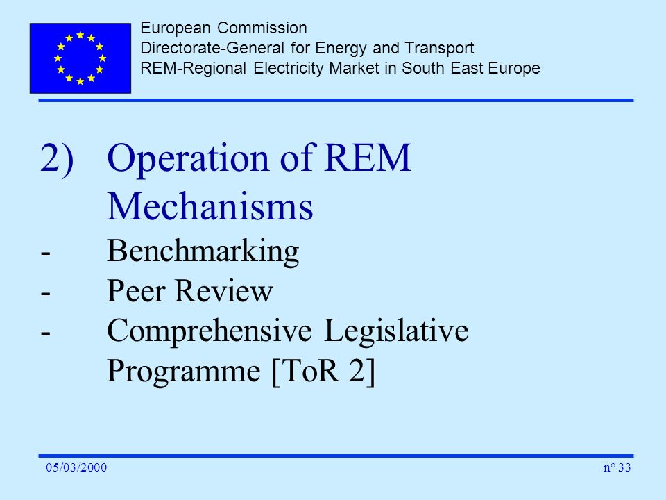 European Commission Directorate-General for Energy and Transport REM-Regional Electricity Market in South East Europe n° 3305/03/2000 2)Operation of R