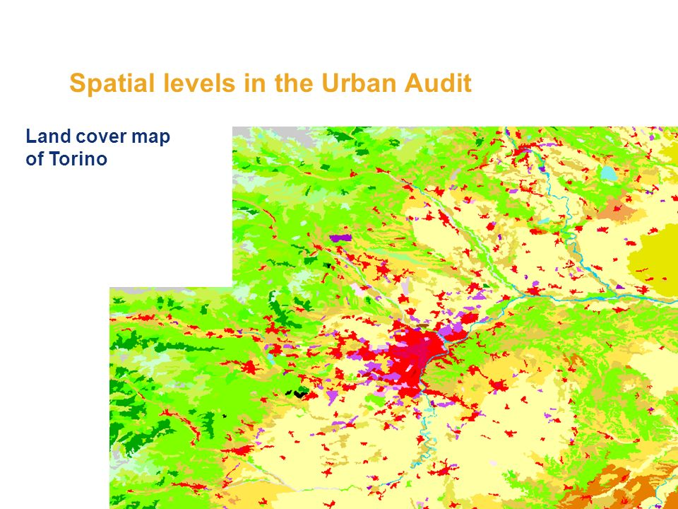 Spatial levels in the Urban Audit Land cover map of Torino