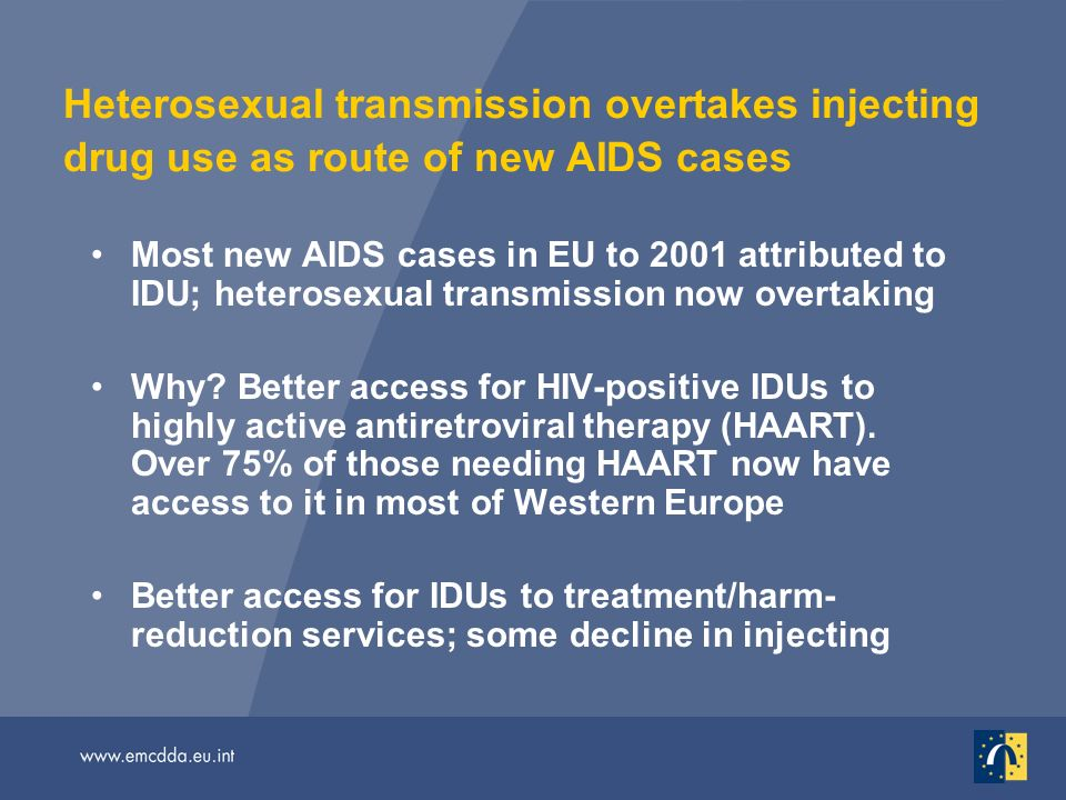 Heterosexual transmission overtakes injecting drug use as route of new AIDS cases Most new AIDS cases in EU to 2001 attributed to IDU; heterosexual transmission now overtaking Why.
