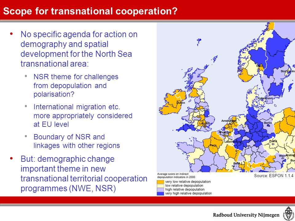 No specific agenda for action on demography and spatial development for the North Sea transnational area: NSR theme for challenges from depopulation and polarisation.