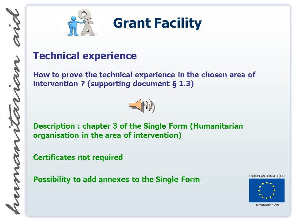 Grant Facility Technical experience How to prove the technical experience in the chosen area of intervention .