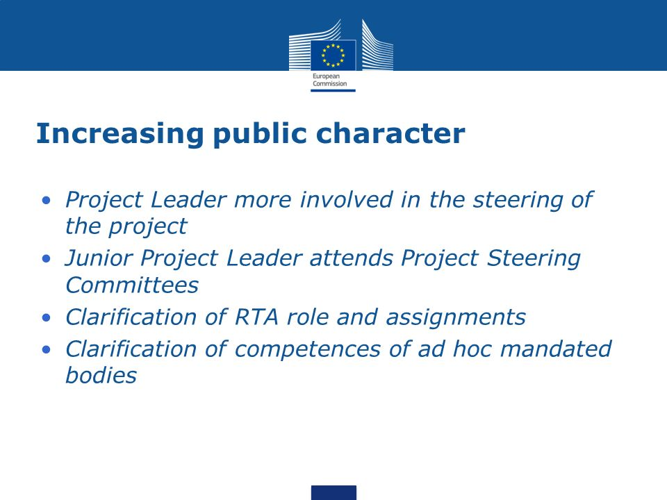 Increasing public character Project Leader more involved in the steering of the project Junior Project Leader attends Project Steering Committees Clarification of RTA role and assignments Clarification of competences of ad hoc mandated bodies
