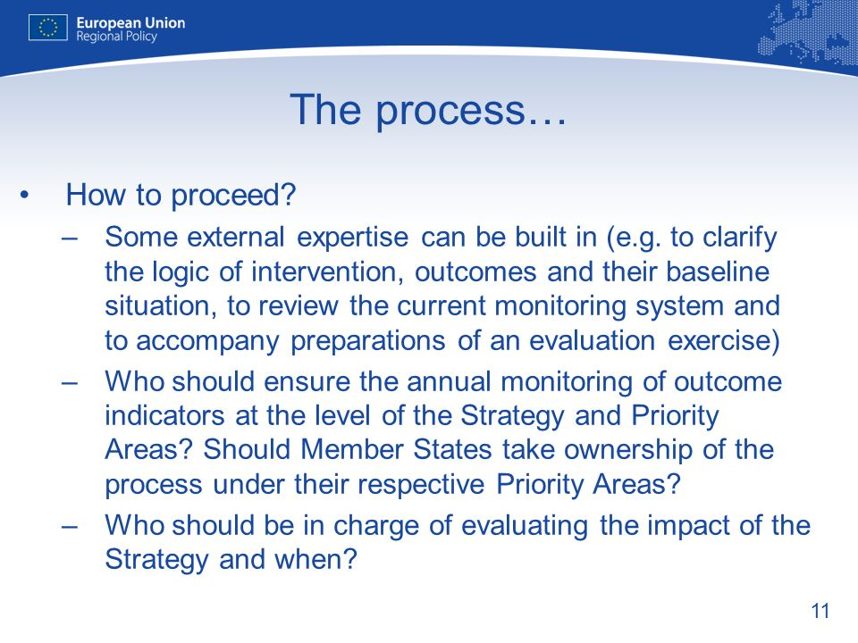11 The process… How to proceed. –Some external expertise can be built in (e.g.