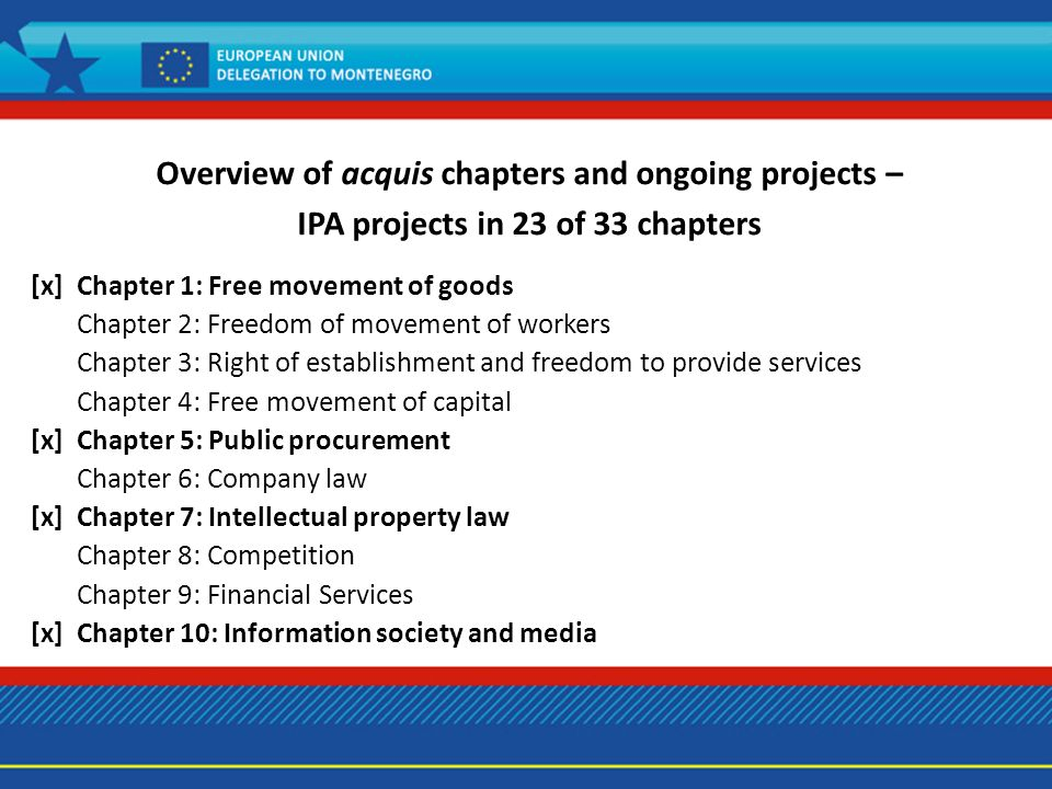 Overview of acquis chapters and ongoing projects – IPA projects in 23 of 33 chapters [x] Chapter 1: Free movement of goods Chapter 2: Freedom of movement of workers Chapter 3: Right of establishment and freedom to provide services Chapter 4: Free movement of capital [x] Chapter 5: Public procurement Chapter 6: Company law [x] Chapter 7: Intellectual property law Chapter 8: Competition Chapter 9: Financial Services [x] Chapter 10: Information society and media