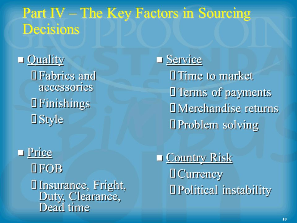 10 Part IV – The Key Factors in Sourcing Decisions Quality Fabrics and accessories Finishings Style Price FOB Insurance, Fright, Duty, Clearance, Dead time Quality Fabrics and accessories Finishings Style Price FOB Insurance, Fright, Duty, Clearance, Dead time Service Time to market Terms of payments Merchandise returns Problem solving Country Risk Currency Political instability Service Time to market Terms of payments Merchandise returns Problem solving Country Risk Currency Political instability