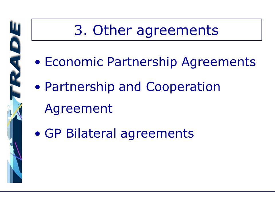 3. Other agreements Economic Partnership Agreements Partnership and Cooperation Agreement GP Bilateral agreements