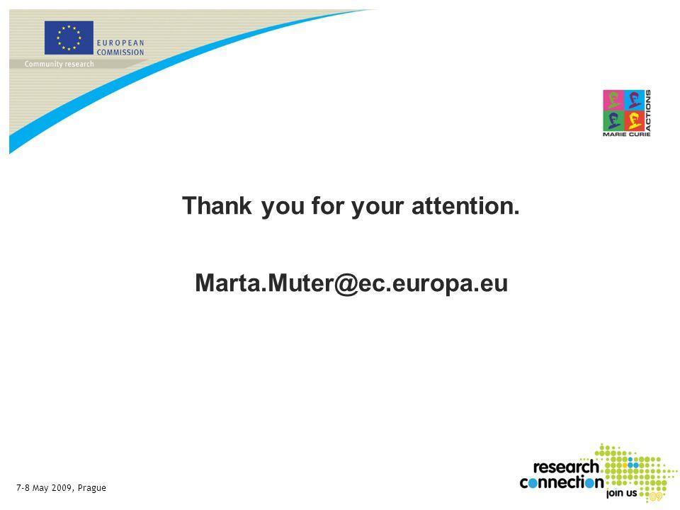 7-8 May 2009, Prague Thank you for your attention. Marta.Muter@ec.europa.eu