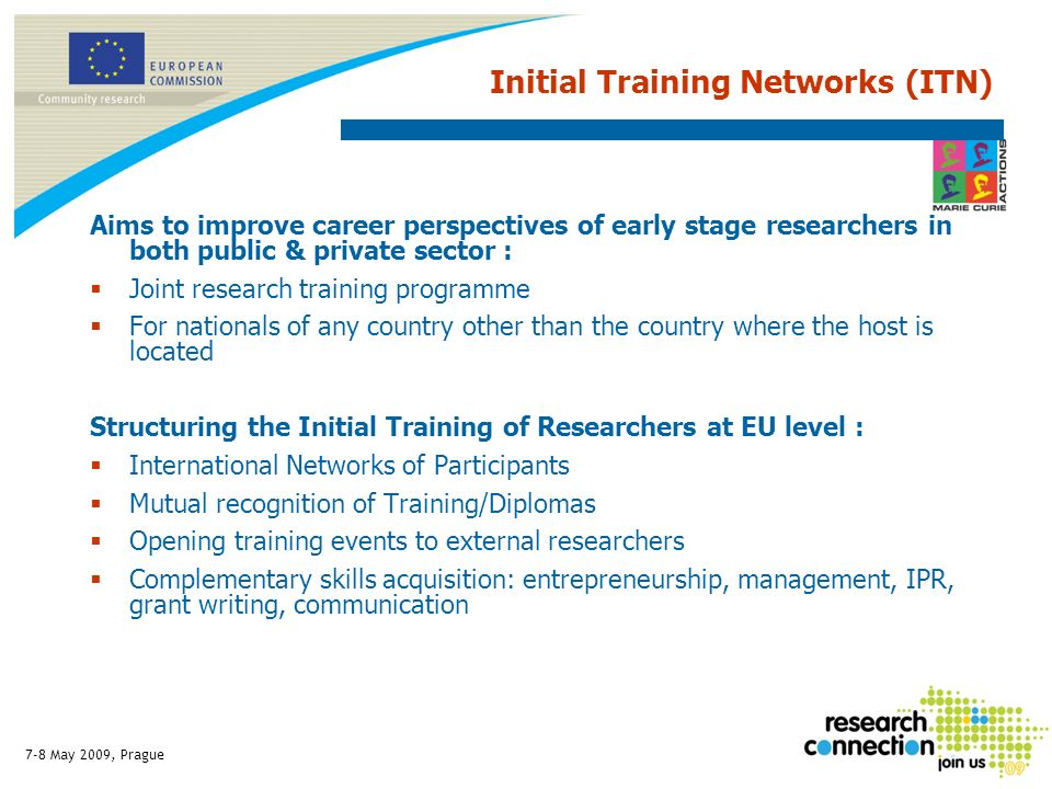 7-8 May 2009, Prague Initial Training Networks (ITN) Aims to improve career perspectives of early stage researchers in both public & private sector : Joint research training programme For nationals of any country other than the country where the host is located Structuring the Initial Training of Researchers at EU level : International Networks of Participants Mutual recognition of Training/Diplomas Opening training events to external researchers Complementary skills acquisition: entrepreneurship, management, IPR, grant writing, communication