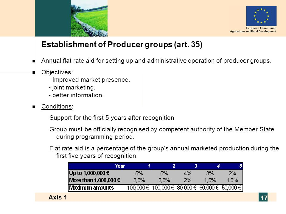 European Commission - Directorate General for Agriculture and Rural Development 17 Axis 1 17 Establishment of Producer groups (art.