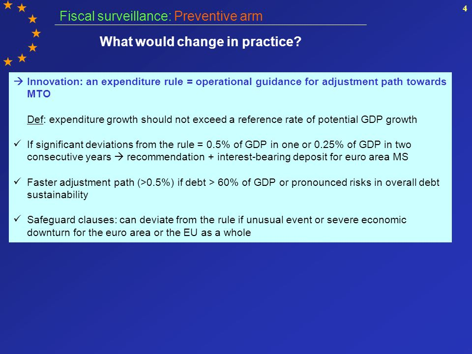 4 Innovation: an expenditure rule = operational guidance for adjustment path towards MTO Def: expenditure growth should not exceed a reference rate of potential GDP growth If significant deviations from the rule = 0.5% of GDP in one or 0.25% of GDP in two consecutive years recommendation + interest-bearing deposit for euro area MS Faster adjustment path (>0.5%) if debt > 60% of GDP or pronounced risks in overall debt sustainability Safeguard clauses: can deviate from the rule if unusual event or severe economic downturn for the euro area or the EU as a whole Fiscal surveillance: Preventive arm What would change in practice
