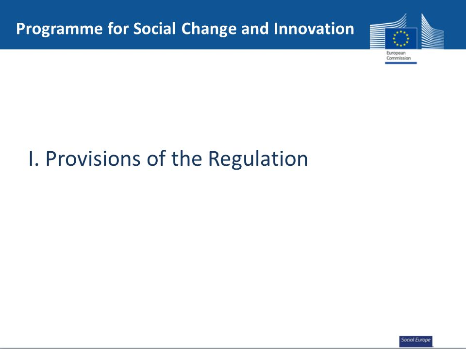 I. Provisions of the Regulation Programme for Social Change and Innovation