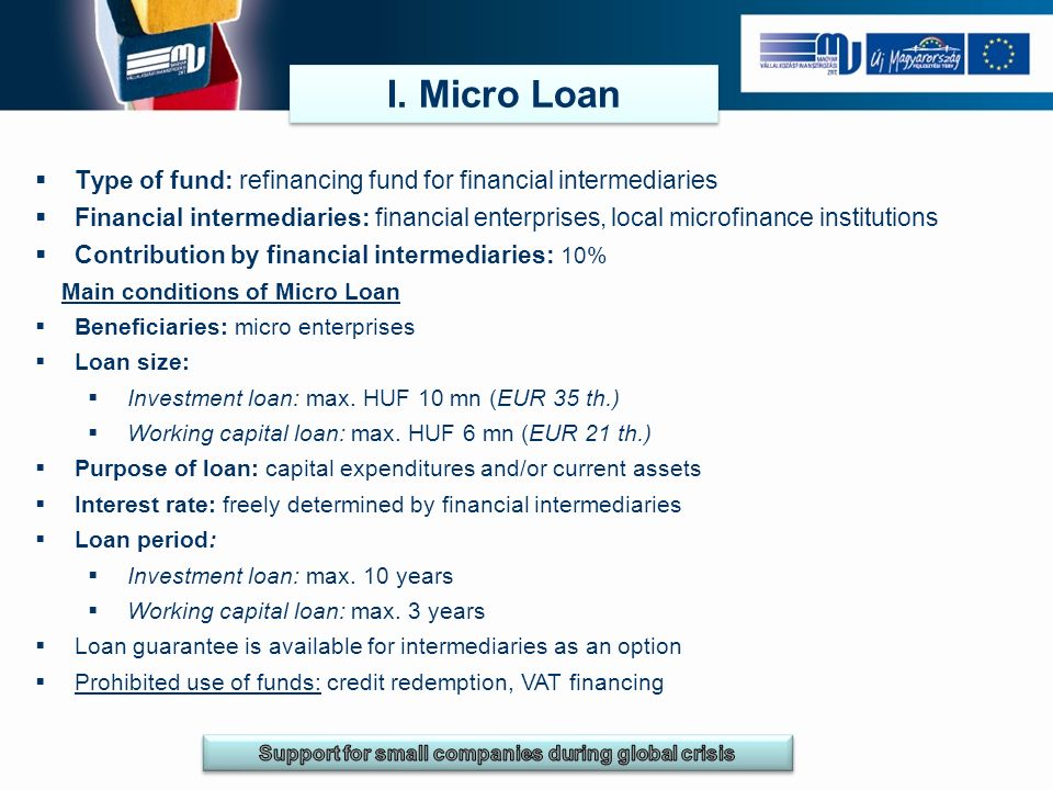 I. Micro Loan Type of fund: refinancing fund for financial intermediaries Financial intermediaries: financial enterprises, local microfinance institut