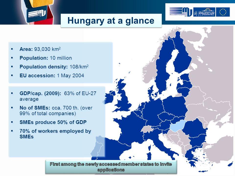 Area: 93,030 km 2 Population: 10 million Population density: 108/km 2 EU accession: 1 May 2004 Area: 93,030 km 2 Population: 10 million Population density: 108/km 2 EU accession: 1 May 2004 GDP/cap.