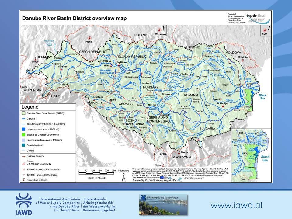 The Danube River Basin Length of the Danube:2,780 km Navigable length of the Danube:2,412 km Annual water discharge 202 bn m3 into the Black Sea: (6,460 m3/sec average) Size of the basin:801,463 km2 (almost 10% of continental Europe) Inhabitants:81 million Number of states:18 Size of the Danube Delta:679,000 ha Main tributaries of the Danube:Tisza, Sava, Inn, Norava, Drava, Velika Morava, Iskar, Siret, Prut