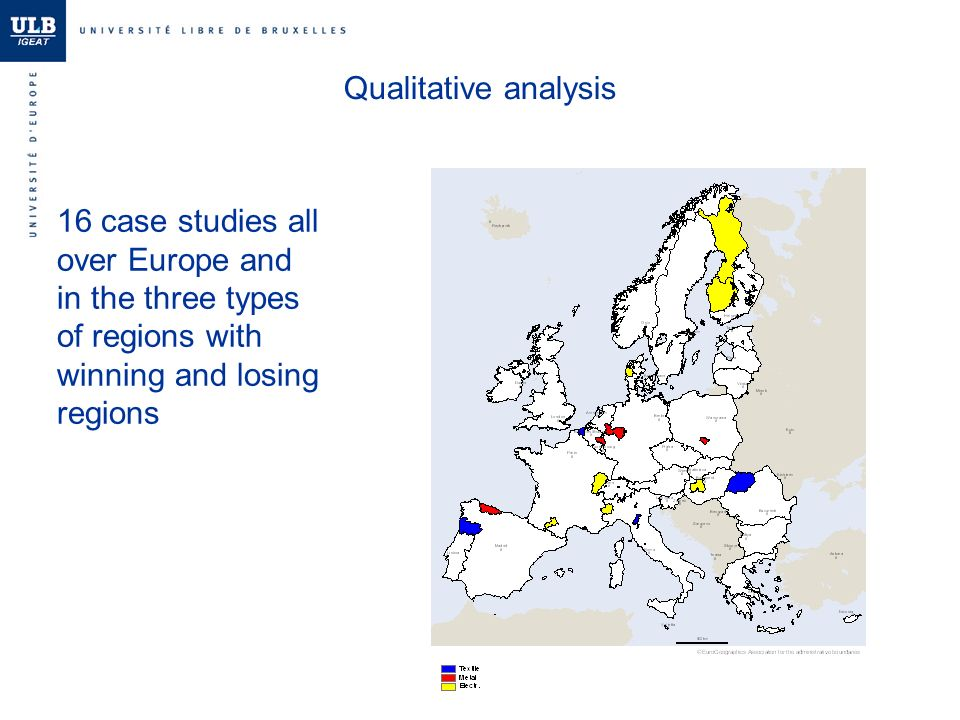 Qualitative analysis 16 case studies all over Europe and in the three types of regions with winning and losing regions