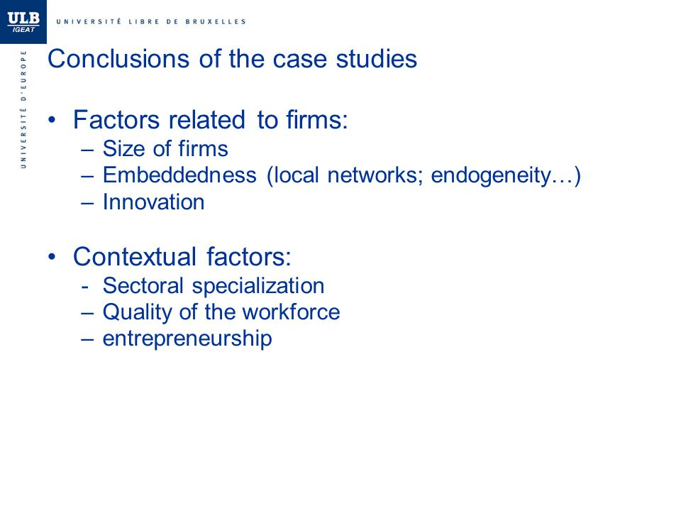 Conclusions of the case studies Factors related to firms: –Size of firms –Embeddedness (local networks; endogeneity…) –Innovation Contextual factors: -Sectoral specialization –Quality of the workforce –entrepreneurship